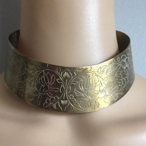 VTG Etched Copper Metal Choker Gold India Necklace